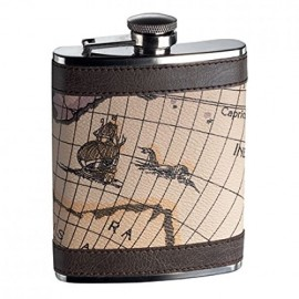 Flasque inox gainée cuir décor carte Keen Sport 180 ml