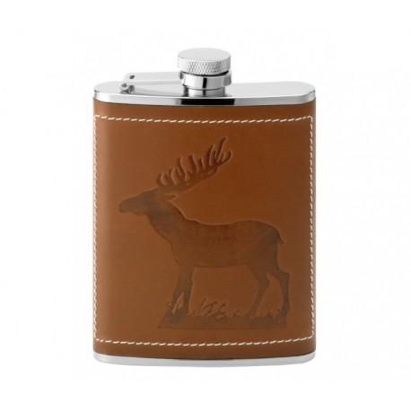 Flasque inox gainée cuir décor cerf 180 ml 543700