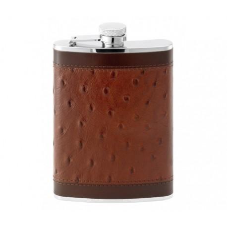 Flasque inox gainée cuir façon autruche 240 ml 544900