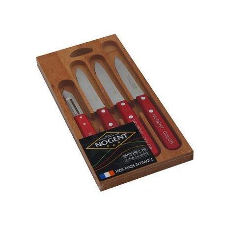 Coffret bois Nogent Color 4 pièces - rouge